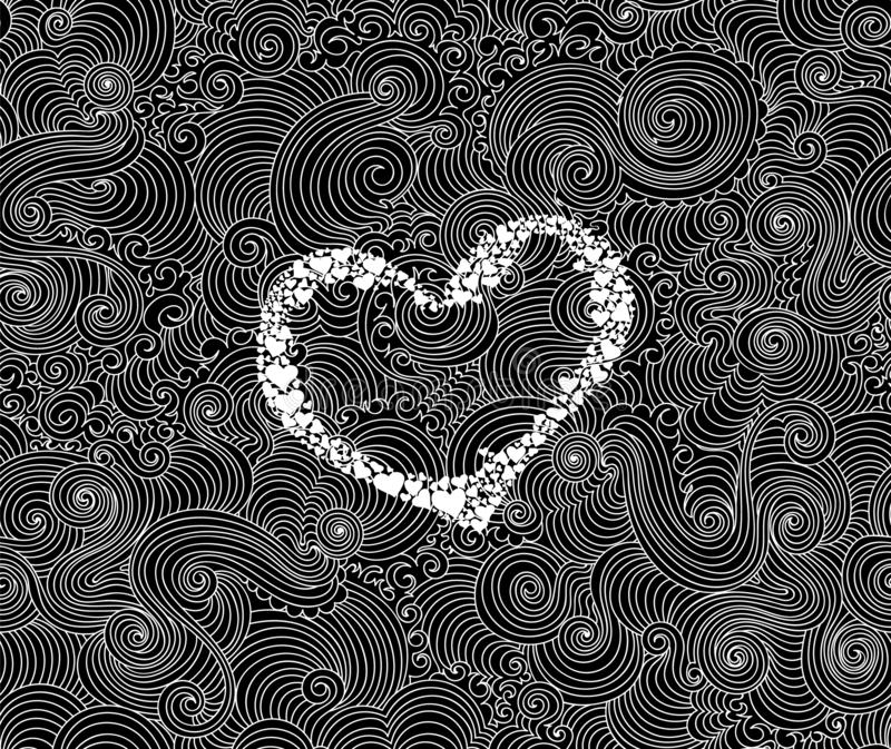 Fondo inconsútil del vector decorativo del extracto de la tarjeta del día de San Valentín con el corazón manuscrito y las líneas  stock de ilustración