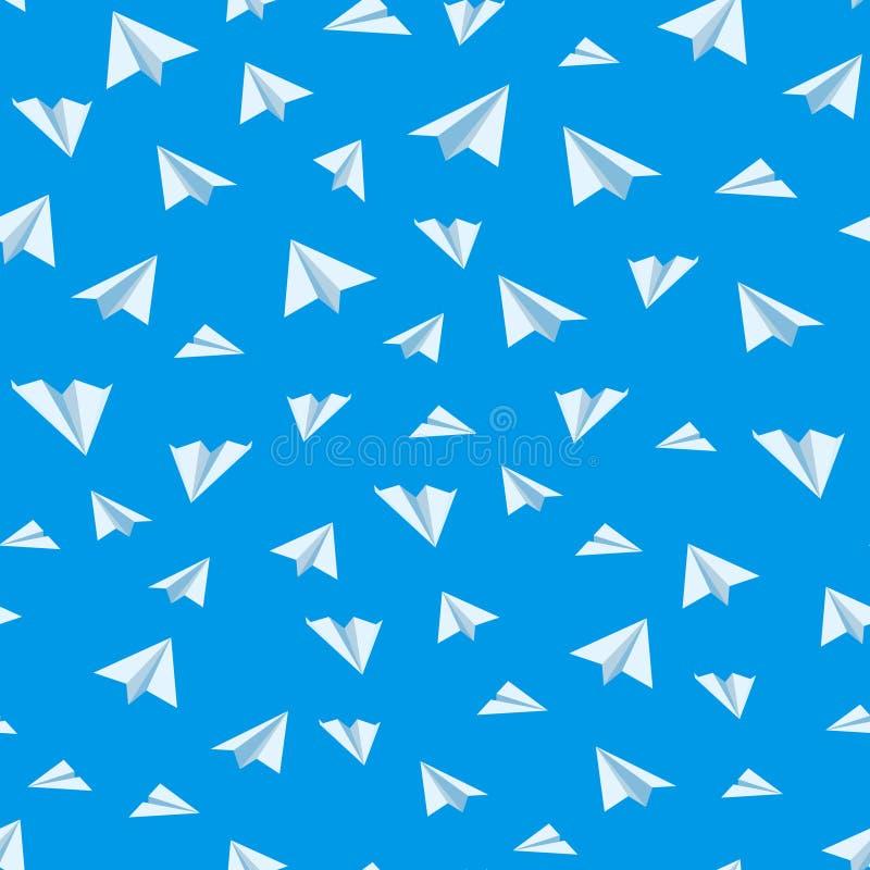 Fondo inconsútil del vector del aeroplano de papel de la papiroflexia stock de ilustración