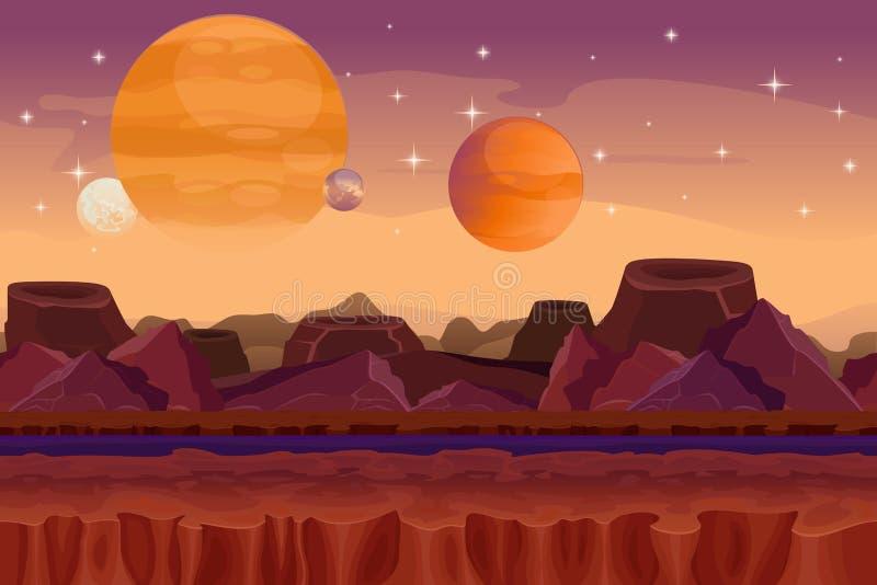 Fondo inconsútil del vector del juego de la ciencia ficción de la historieta ilustración del vector