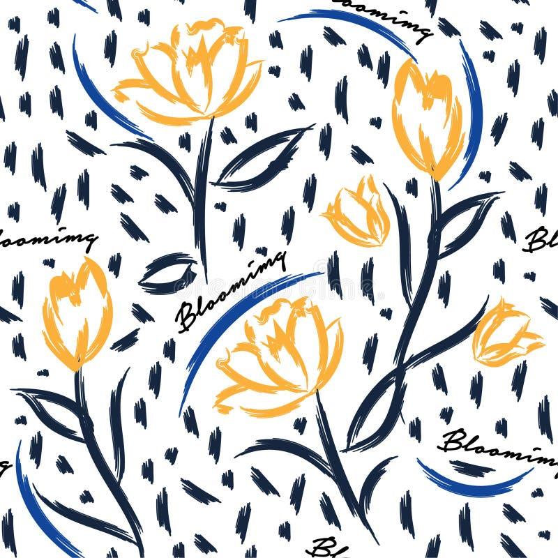 Fondo inconsútil del vector del modelo con los tulipanes coloridos Br de la mano ilustración del vector