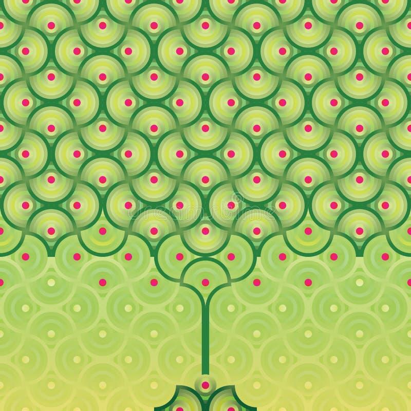Fondo inconsútil del vector - modelo del árbol del verano stock de ilustración