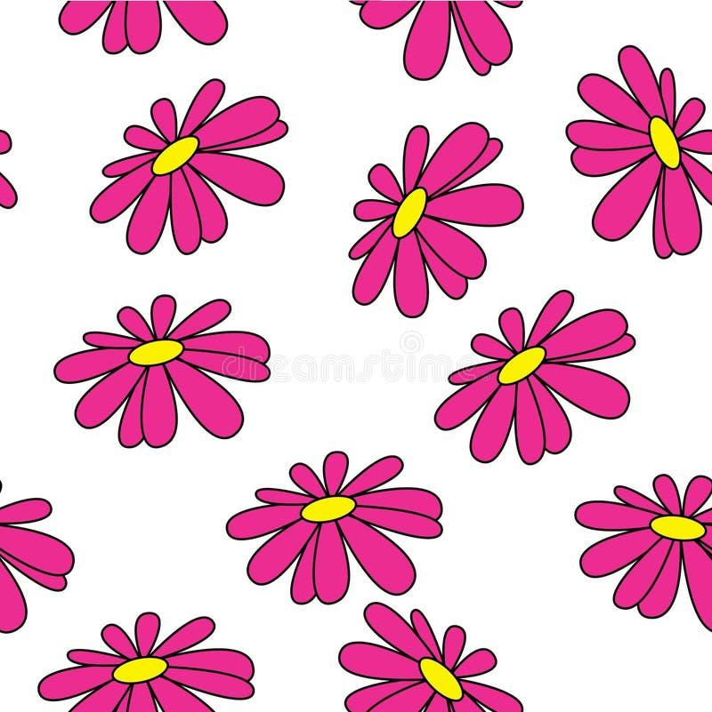 Fondo inconsútil del verano Colores brillantes Margaritas coloreadas Plantas hawaianas stock de ilustración