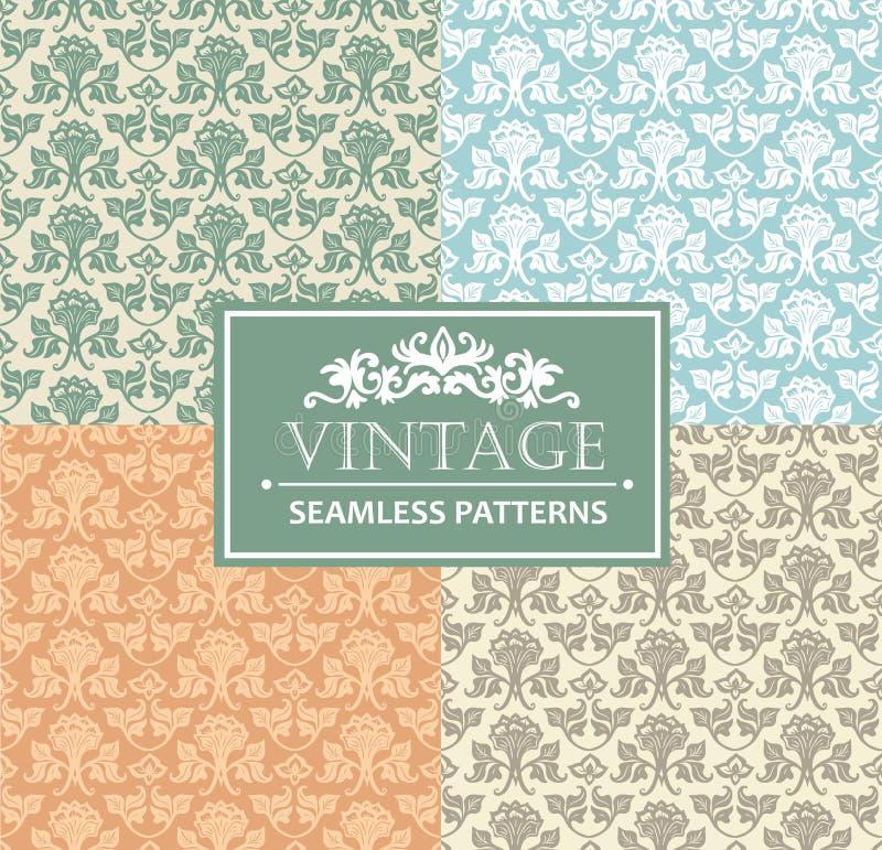 Fondo inconsútil del vintage, antigüedad, ornamento de plata del victorian, modelos ornamentales de lujo florales stock de ilustración