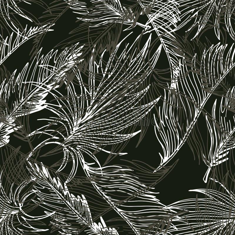 Fondo inconsútil dibujado mano con las hojas de palma y la Florida tropical libre illustration