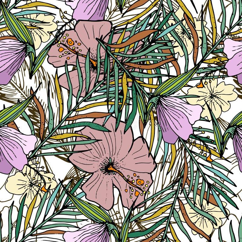 Fondo inconsútil dibujado mano con las hojas de palma y las flores ilustración del vector