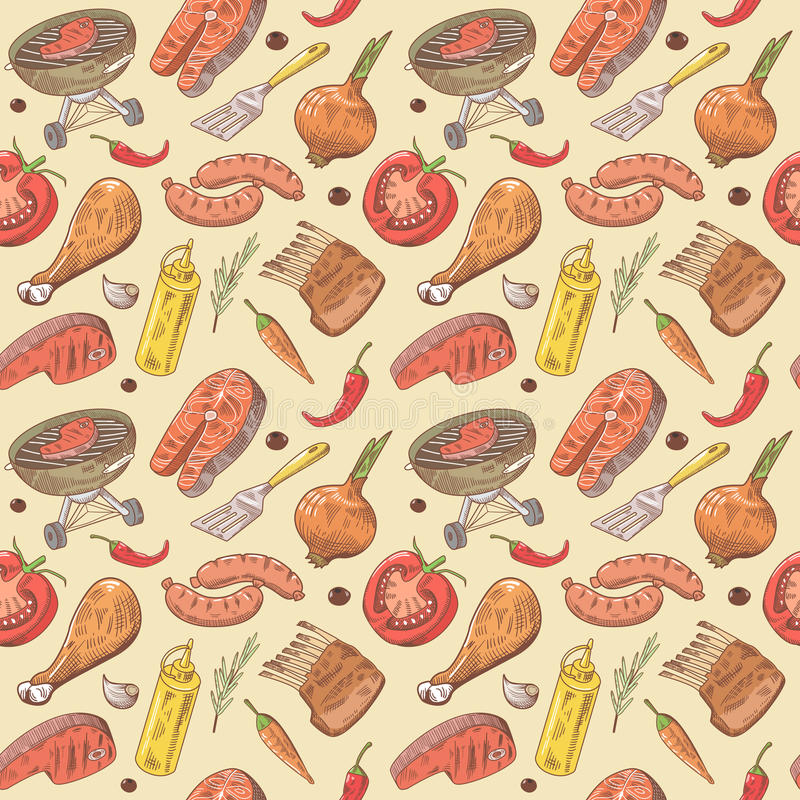Fondo inconsútil dibujado mano de la barbacoa y de la parrilla con el filete, la carne, los pescados y las verduras Modelo del pa stock de ilustración