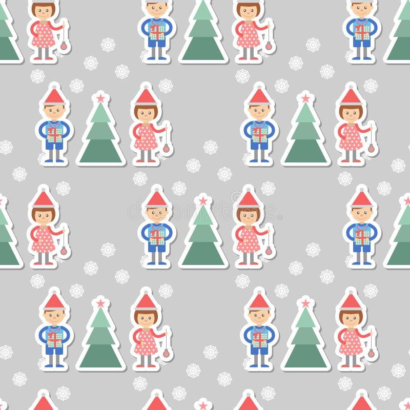 Fondo inconsútil El muchacho y la muchacha con los regalos adornan el árbol de navidad libre illustration