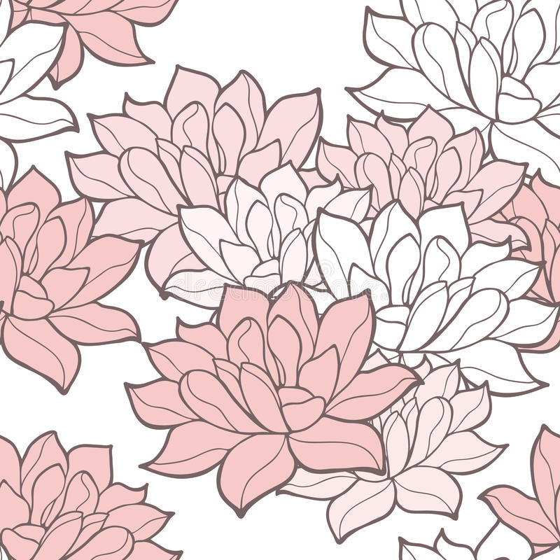 Fondo inconsútil elegante de las flores de loto stock de ilustración