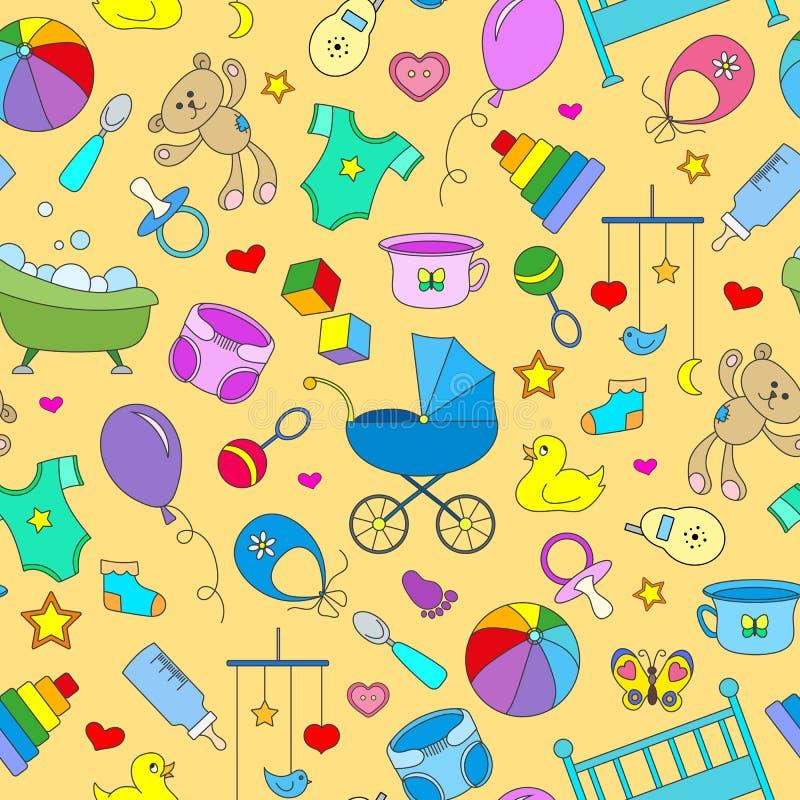 Fondo inconsútil en el tema de la niñez y bebés recién nacidos, accesorios del bebé, accesorios y juguetes, iconos simples del co stock de ilustración