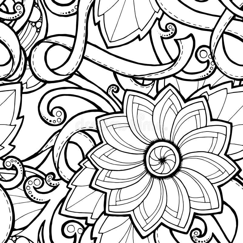 Fondo inconsútil en vector con garabatos, las flores y Paisley ilustración del vector