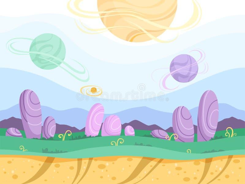 Fondo inconsútil extranjero Vector de los juegos de la fantasía de la luna 2.o del planeta de la tierra de la montaña futurista e libre illustration
