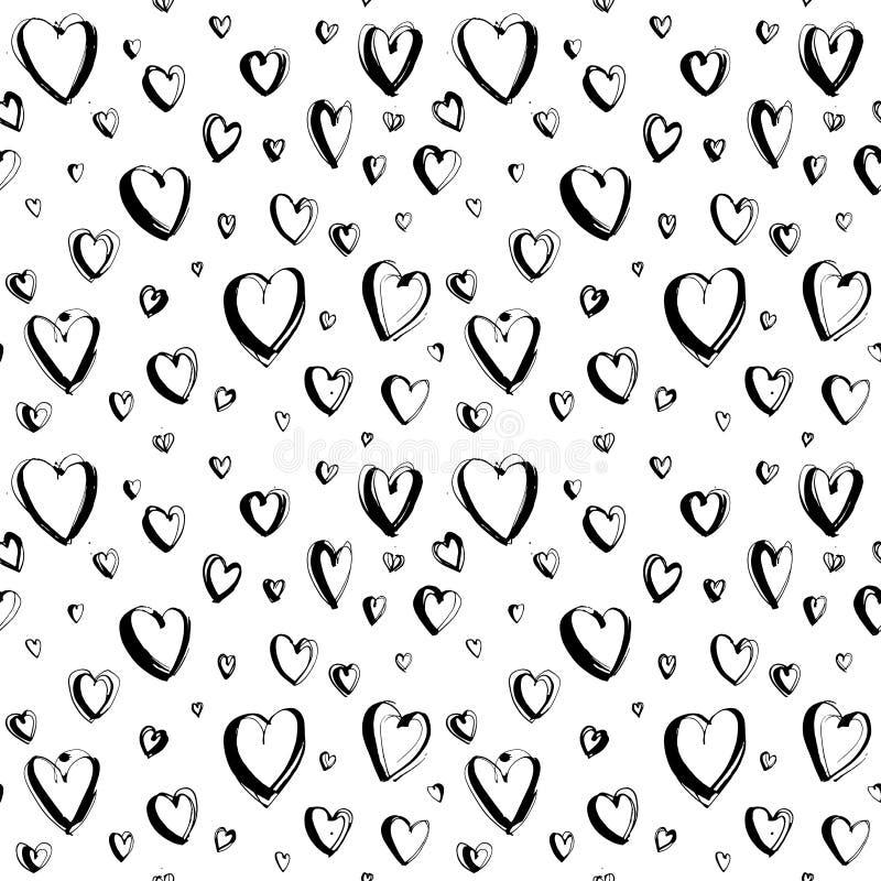 Fondo inconsútil feliz exhausto del modelo de los corazones del día de tarjeta del día de San Valentín de la mano decorativa stock de ilustración