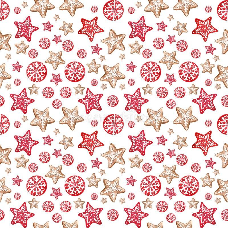 Fondo inconsútil festivo del modelo de la Feliz Navidad y de Nye Year del invierno con las galletas del pan de jengibre stock de ilustración