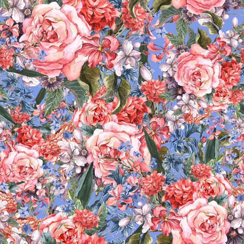 Fondo inconsútil floral de la acuarela con las rosas ilustración del vector