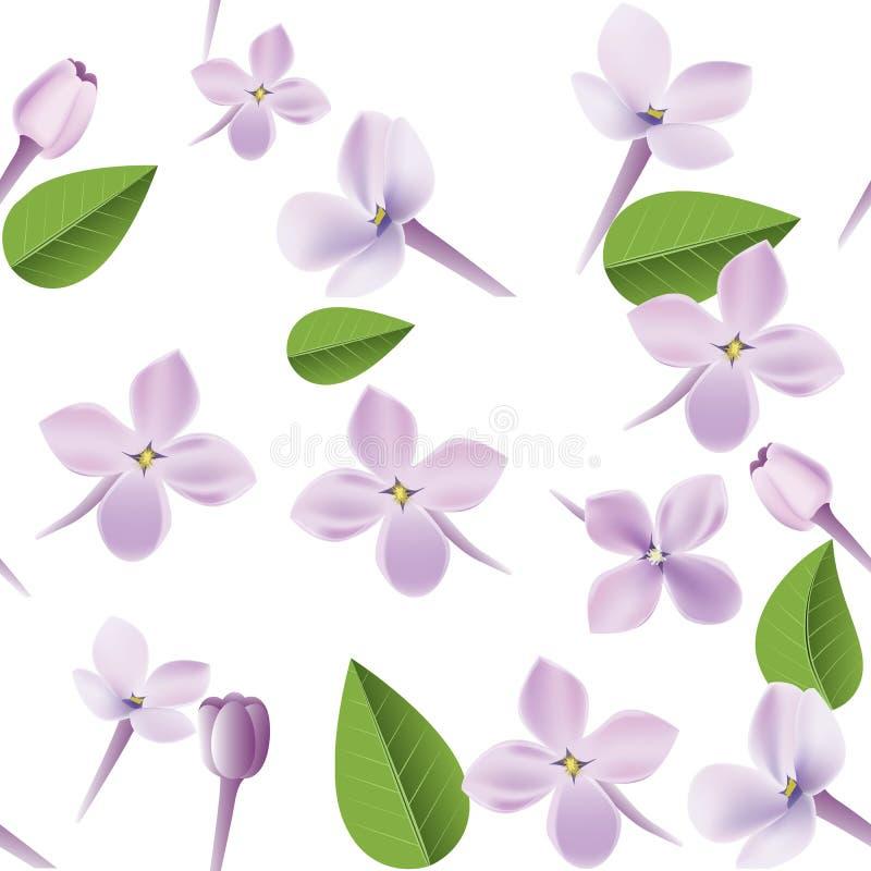 fondo inconsútil floral del modelo 3d La textura con las flores púrpuras de la lila, la hoja y los pétalos vector el ejemplo stock de ilustración