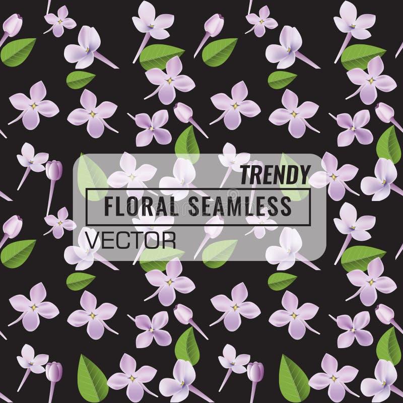fondo inconsútil floral del modelo 3d La textura con las flores púrpuras de la lila, la hoja y los pétalos vector el ejemplo libre illustration