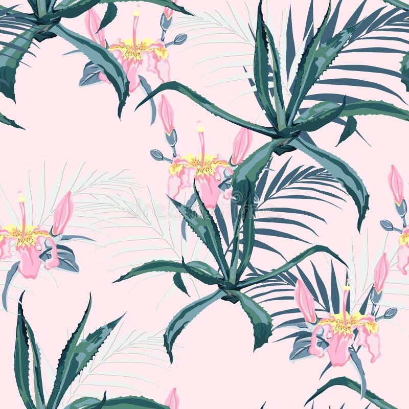 Fondo inconsútil floral del modelo del vector hermoso con agavo, hojas de palma y flores exóticas ilustración del vector