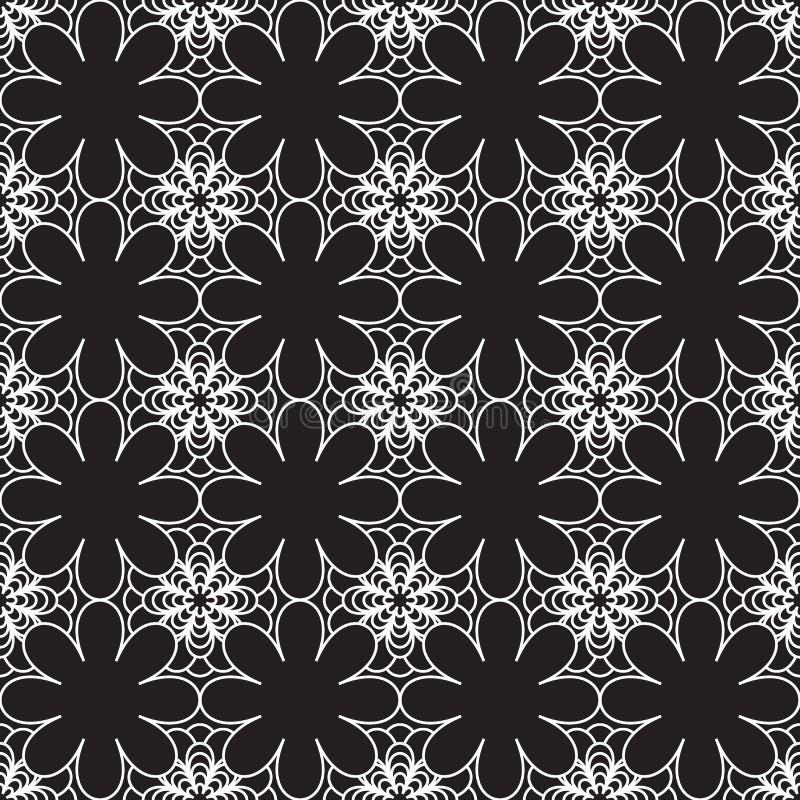 Fondo inconsútil floral del vector del modelo en blanco y negro stock de ilustración