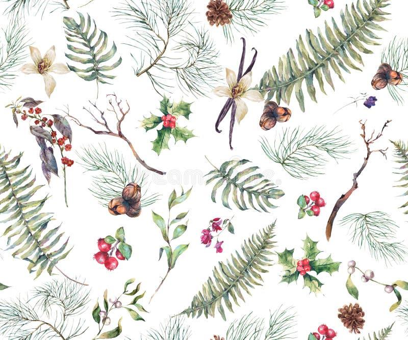 Fondo inconsútil floral del vintage con Fern Leaves ilustración del vector
