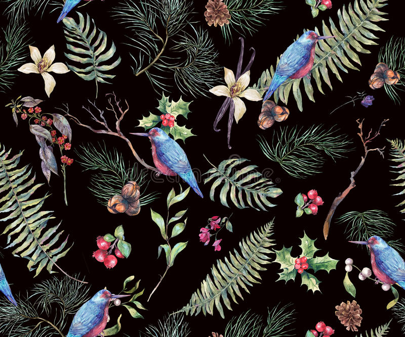 Fondo inconsútil floral del vintage con Fern Leaves libre illustration