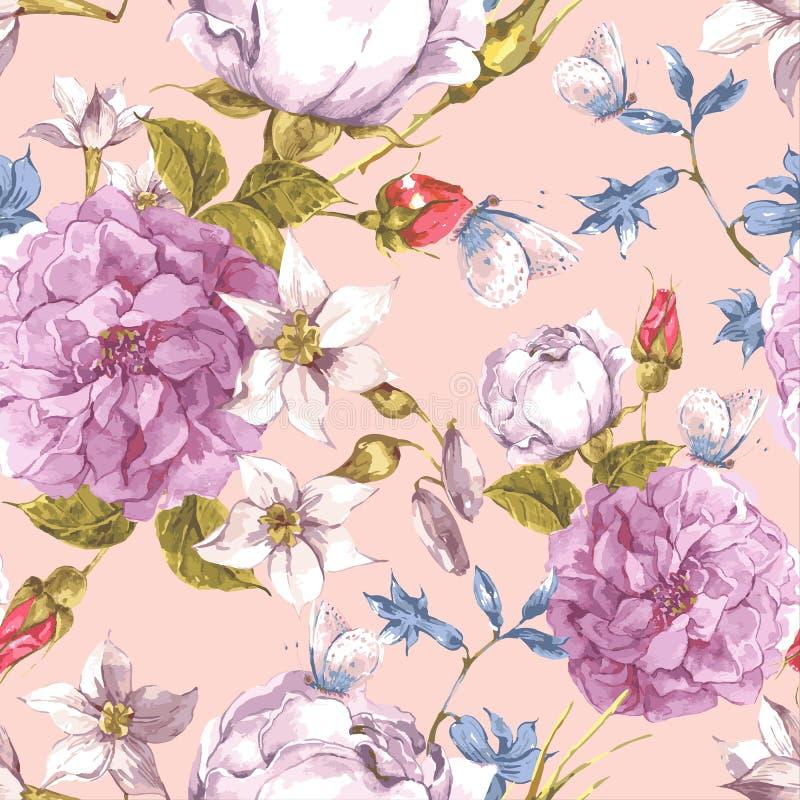 Fondo inconsútil floral del vintage con las rosas stock de ilustración