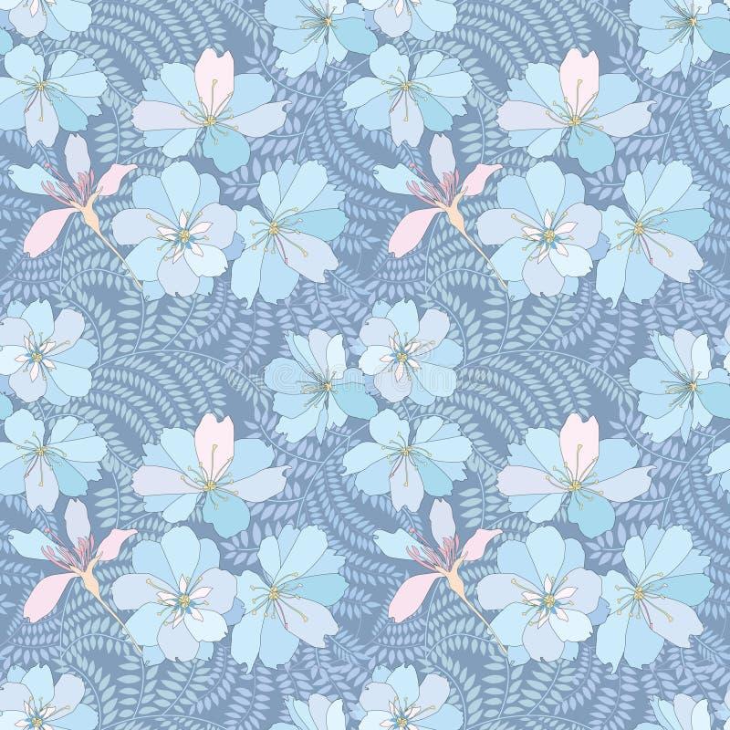 Fondo inconsútil floral. estampado de plores apacible. stock de ilustración