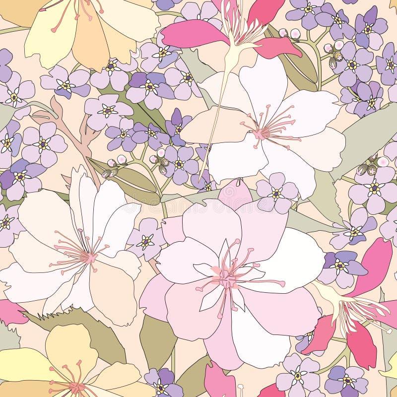 Fondo inconsútil floral. estampado de plores apacible. ilustración del vector