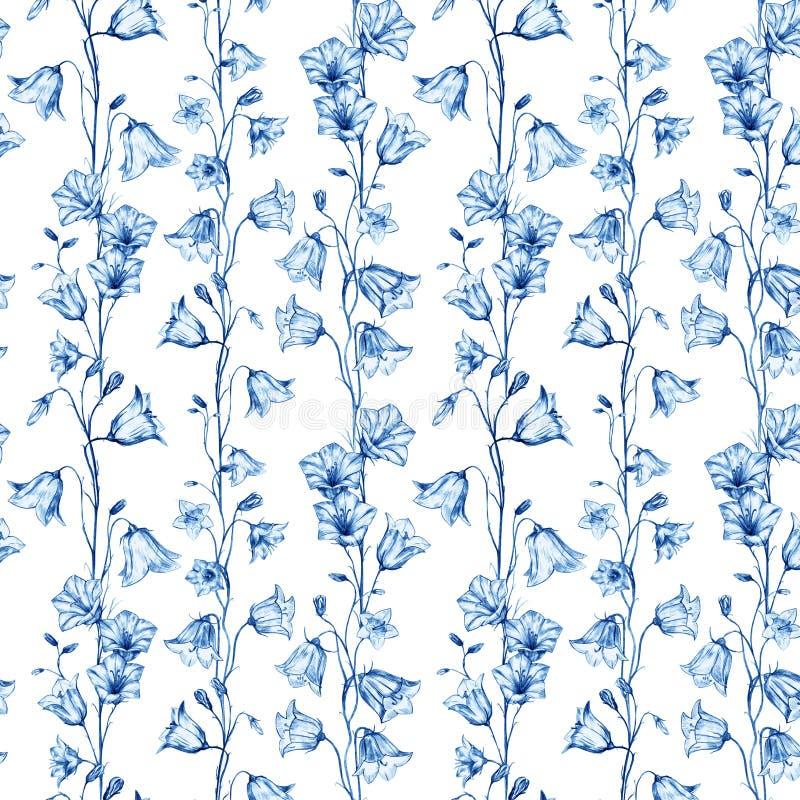 Fondo inconsútil floral exhausto del modelo de la mano con las flores gráficas verticales cristalinas azules de la campanilla en  ilustración del vector