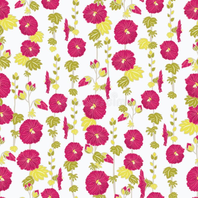Fondo inconsútil floreciente del modelo del vector de la repetición del jardín de flores rojo de la malva para la tela, scrapbook libre illustration