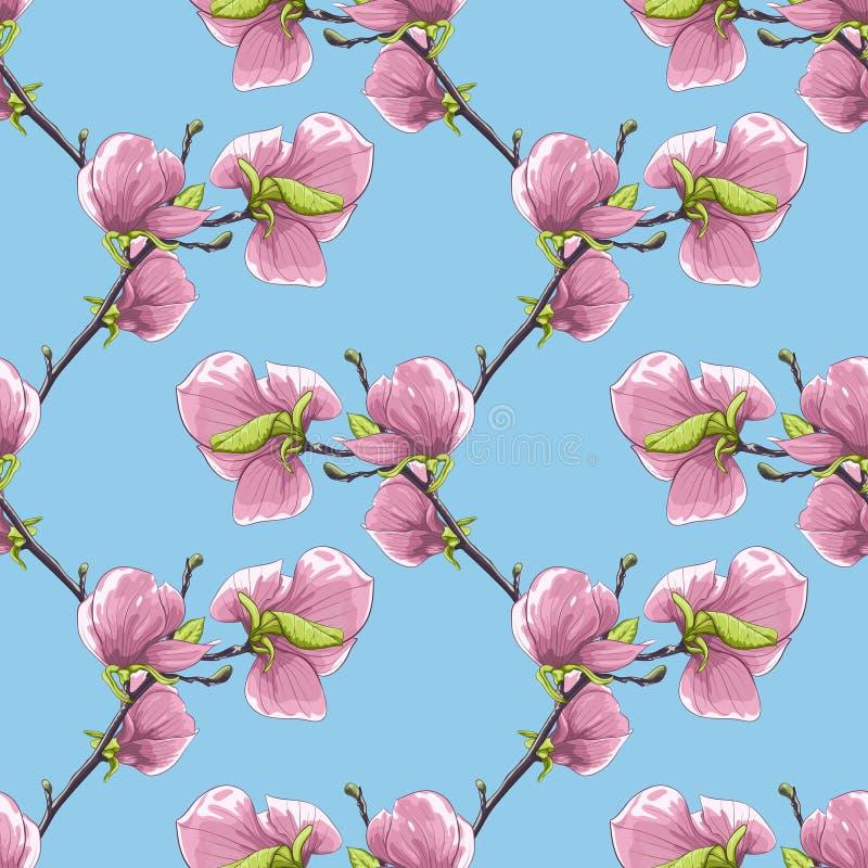 Fondo inconsútil hermoso con las ramas de árbol florecientes de la magnolia ilustración del vector