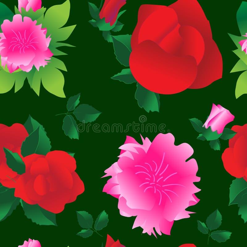 Fondo inconsútil hermoso con las rosas y las peonías grandes de las flores ilustración del vector