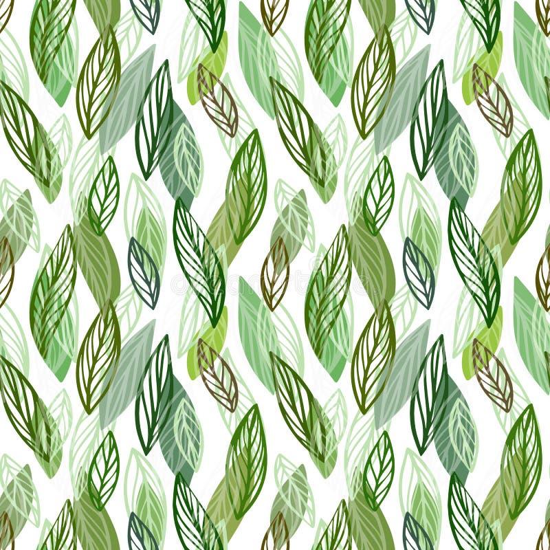 Fondo inconsútil hermoso del estampado de flores El verde deja el contexto El hibisco sale vector de diseño repetible stock de ilustración