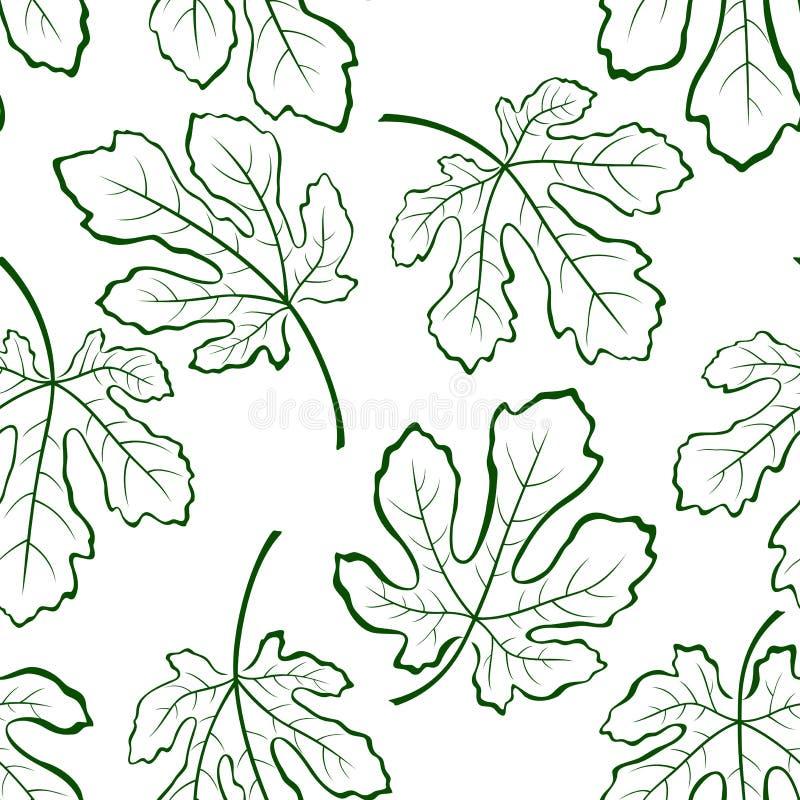 Fondo inconsútil, hojas del higo stock de ilustración