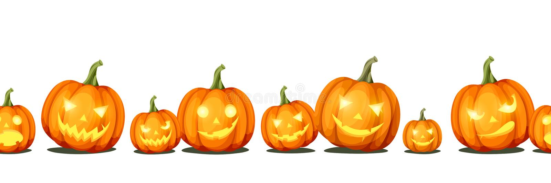 Fondo inconsútil horizontal con el ` de Jack-o - calabazas de Halloween de las linternas Vector EPS-10 ilustración del vector