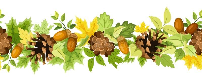 Fondo inconsútil horizontal con las hojas de otoño, los conos y las bellotas Ilustración del vector stock de ilustración