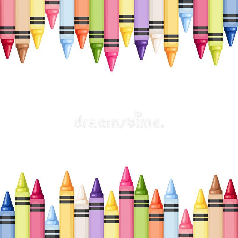 Fondo inconsútil horizontal con los creyones coloridos Ilustración del vector libre illustration