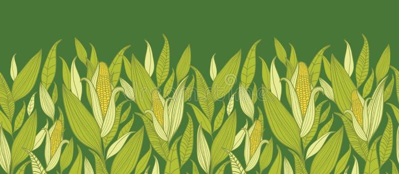 Fondo inconsútil horizontal del modelo de las plantas de maíz stock de ilustración