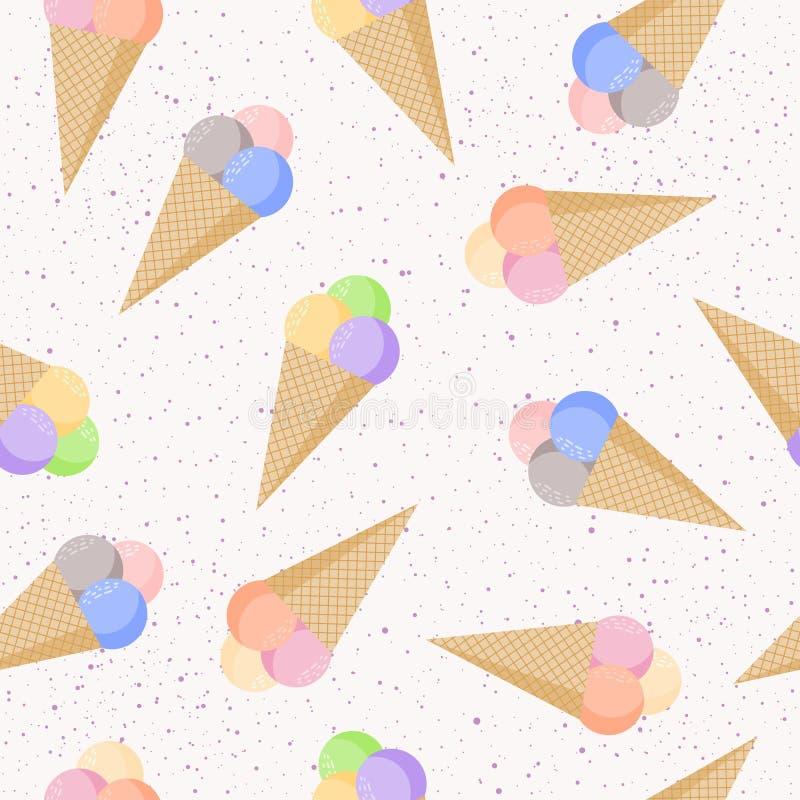 Fondo inconsútil infantil del modelo del helado ilustración del vector