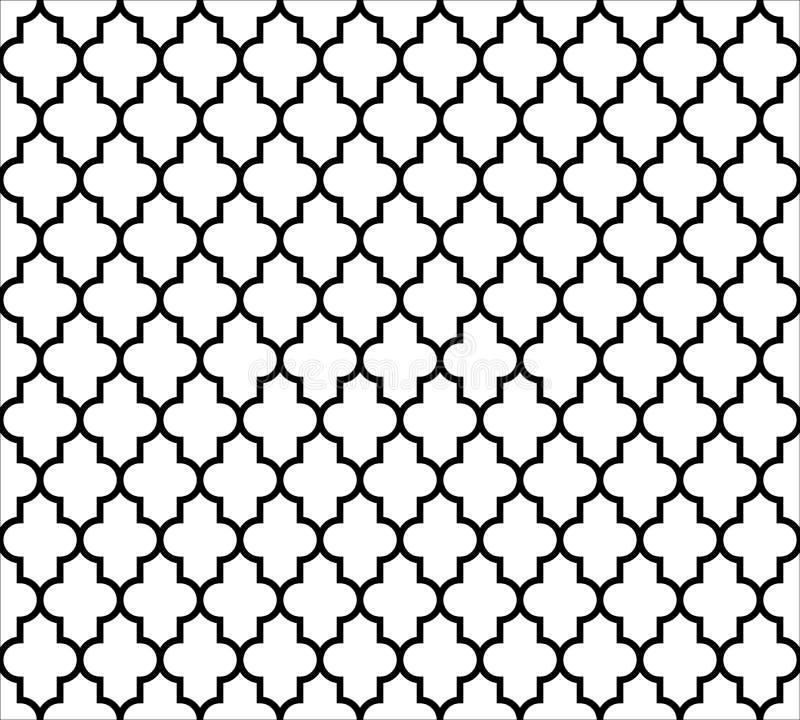 Fondo inconsútil islámico marroquí del modelo en blanco y negro Vintage y diseño ornamental abstracto retro simple libre illustration