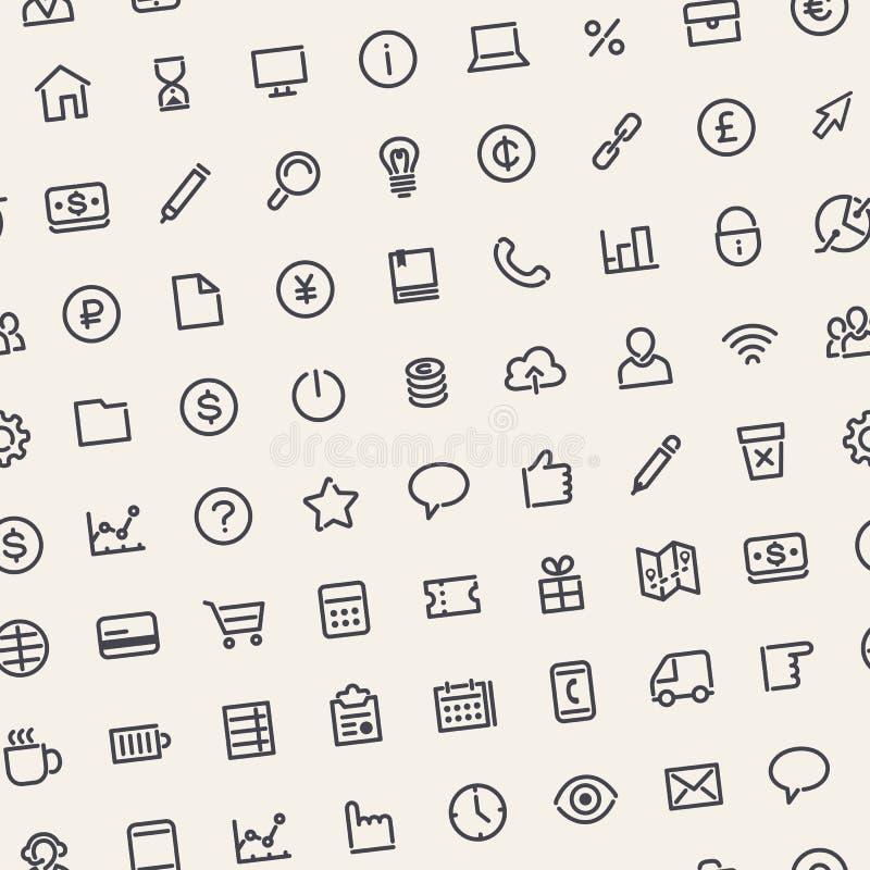 Fondo inconsútil ligero del negocio con la línea iconos ilustración del vector