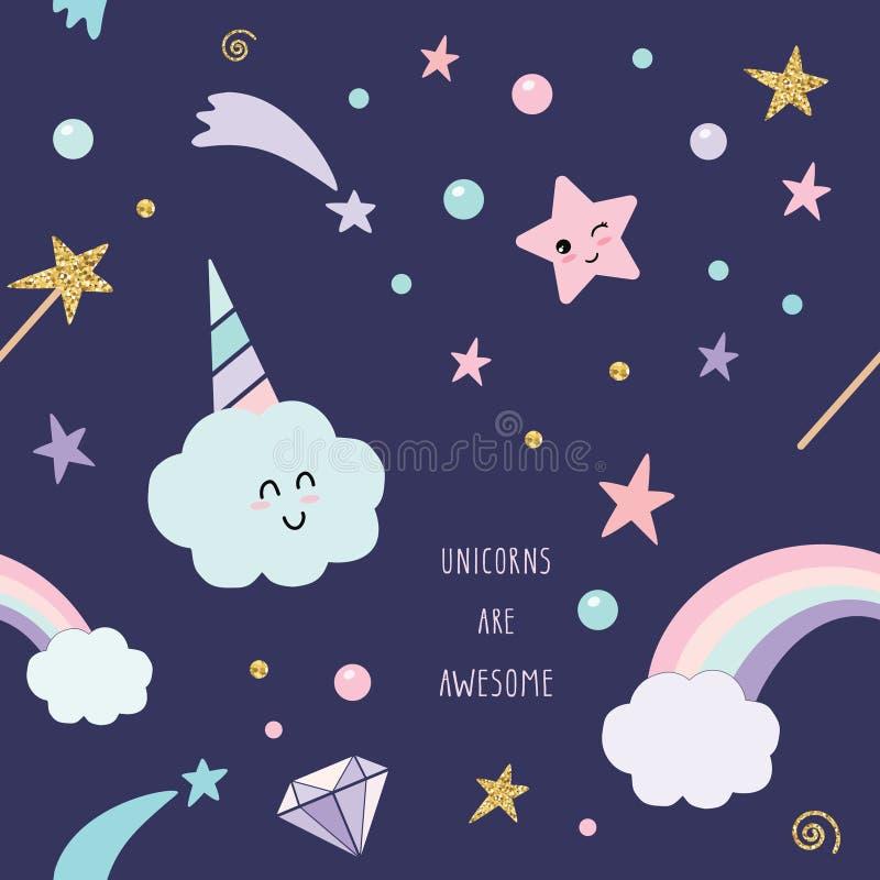 Fondo inconsútil mágico del modelo del unicornio con el arco iris, las estrellas y los diamantes stock de ilustración