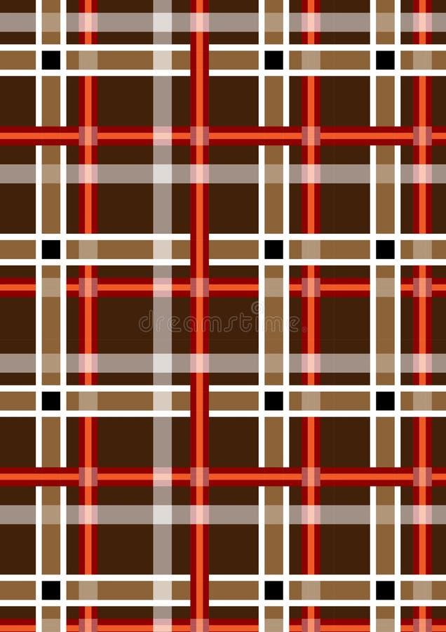 Fondo inconsútil marrón abigarrado con las rayas rojas y blancas stock de ilustración