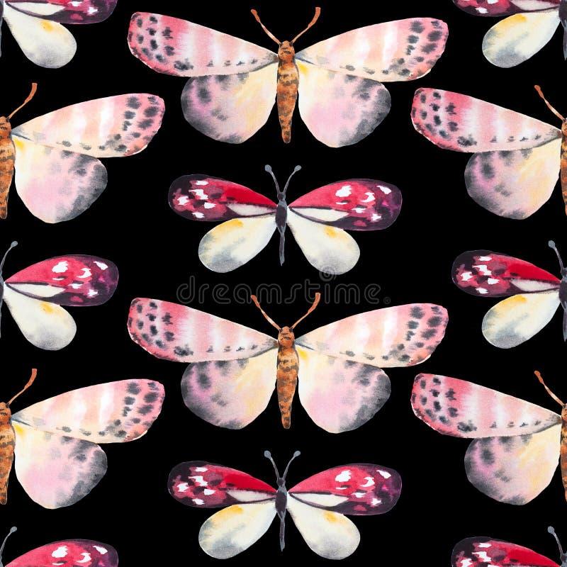 Fondo inconsútil, modelo de mariposa Ilustración de la acuarela libre illustration