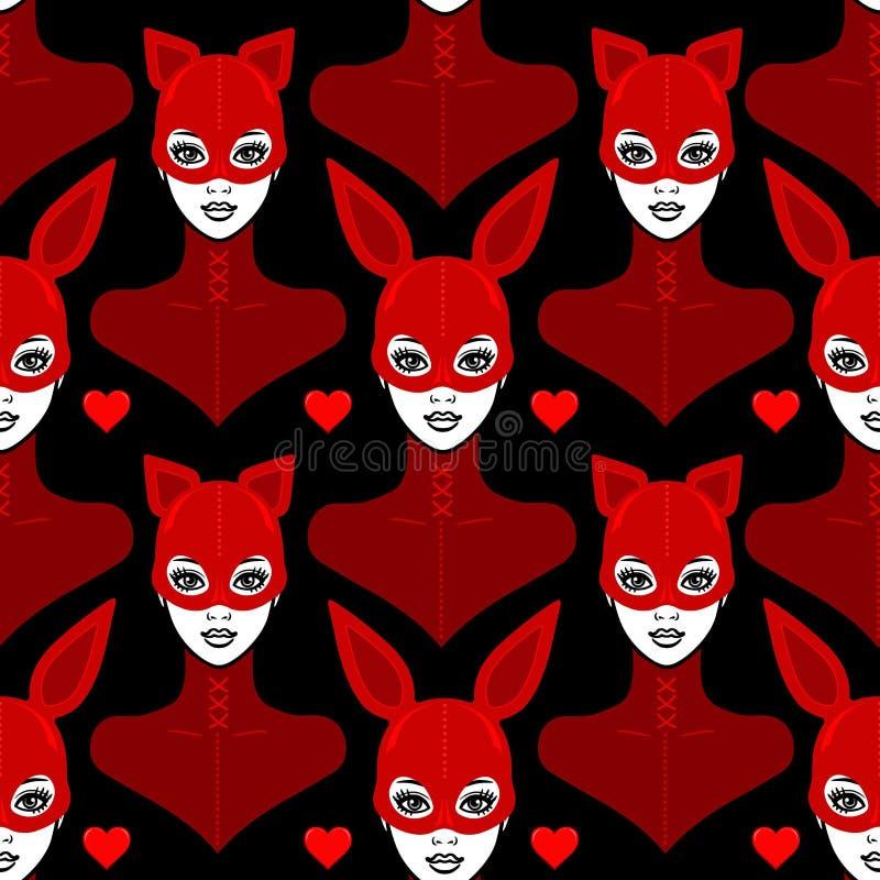 Fondo inconsútil - retrato de la animación de las muchachas bbeautiful en un traje del látex y un gato y un conejo de la máscara stock de ilustración