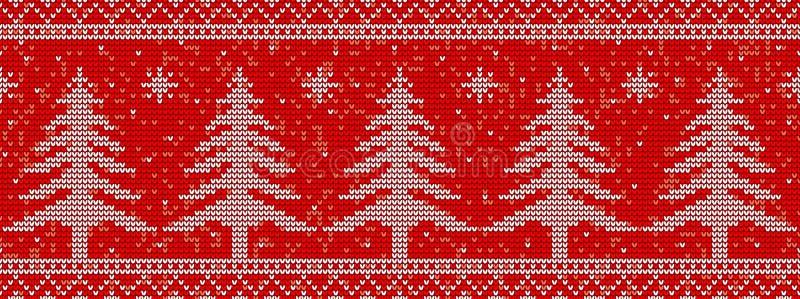 Fondo inconsútil rojo del modelo que hace punto con los árboles de navidad ilustración del vector