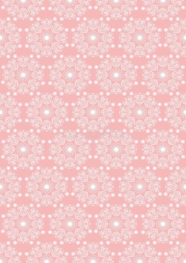 Fondo inconsútil rosado de colores ovales del whitedel ornamentdel vintage stock de ilustración