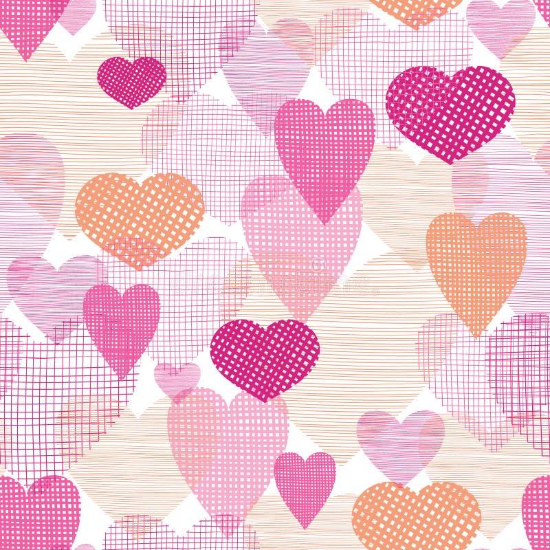 Fondo inconsútil texturizado del modelo de los corazones de la tela libre illustration
