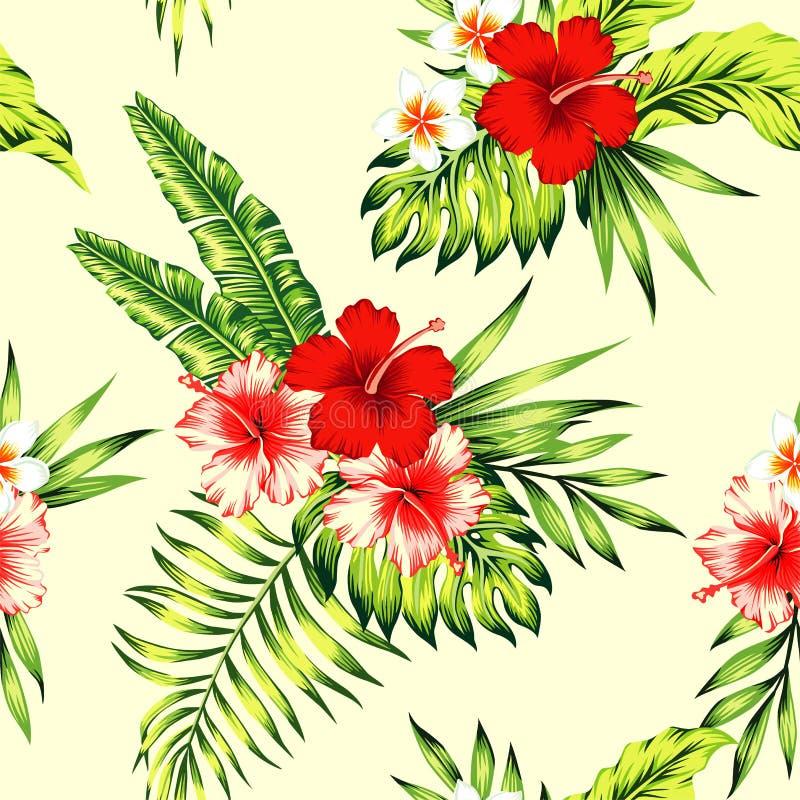 Fondo inconsútil tropical del hibisco y de las hojas de palma stock de ilustración