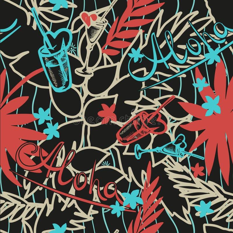Fondo inconsútil tropical del verano con las hojas de palma, las plantas, los cócteles, los corazones y la inscripción exóticos - stock de ilustración