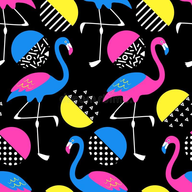 Fondo inconsútil tropical exótico lindo con los personajes de dibujos animados de los flamencos de neón en el estilo 80s libre illustration